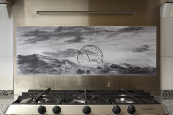 MICHAEL VAN DEN ABEELE, Dashboard your setting sun, 2019, adhesive vinyl on aluminum kitchen appliance, 30 × 83 cm